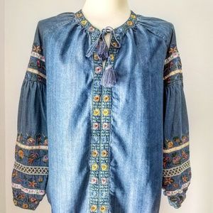 Chambray Denim Embroidered Peasant Blouse